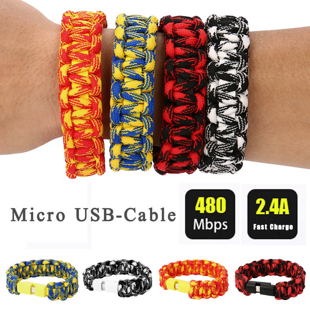 Nylon Creative 8Pin USB Data Cable Bead Bracelet Charger For Android P
