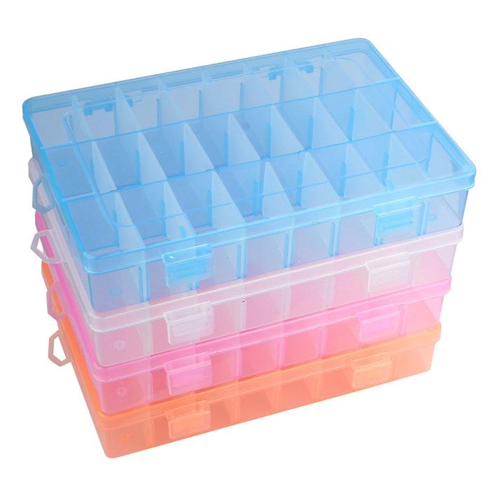 24-Compartment Craft Part Storage Box - 4 Colors
