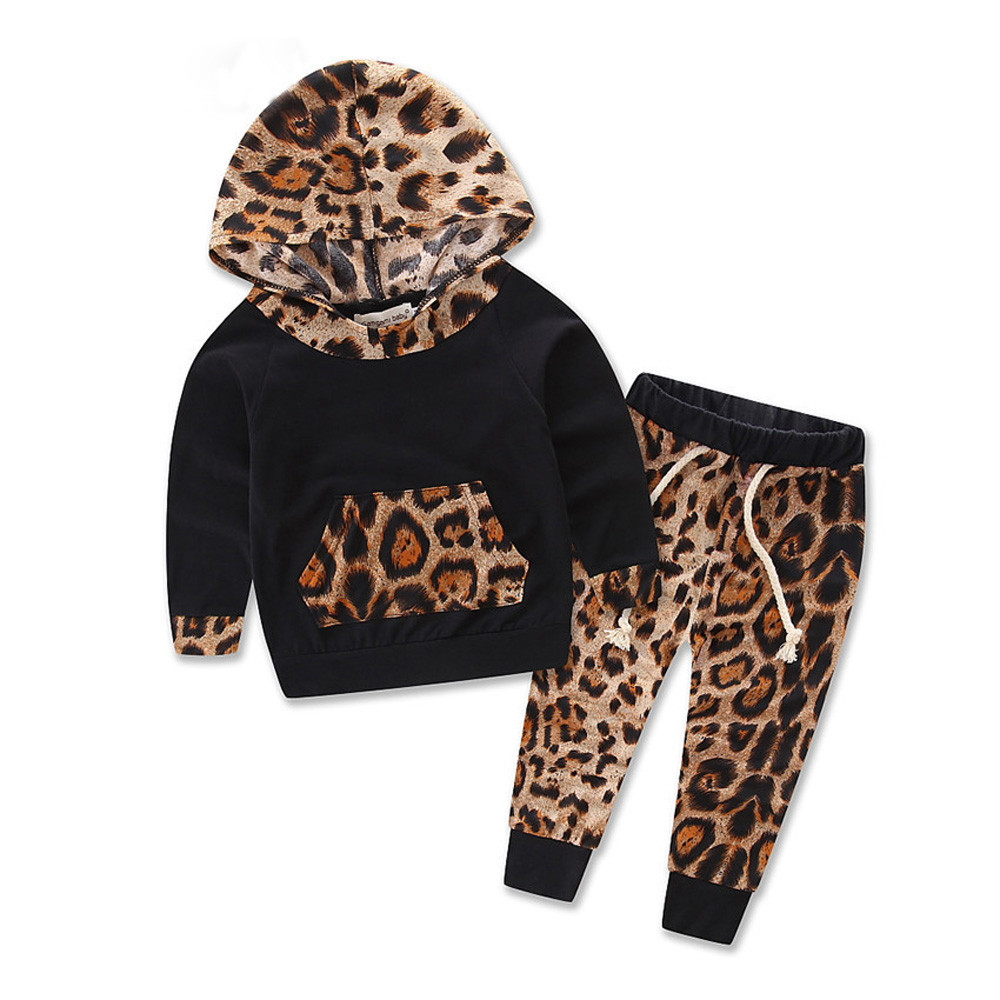 Baby Black Leopard Track Suit Top  amp  Pants Outfit