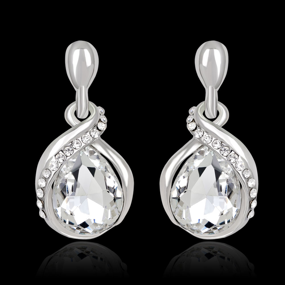 bridal wedding engagement rhinestone teardrop dangle women