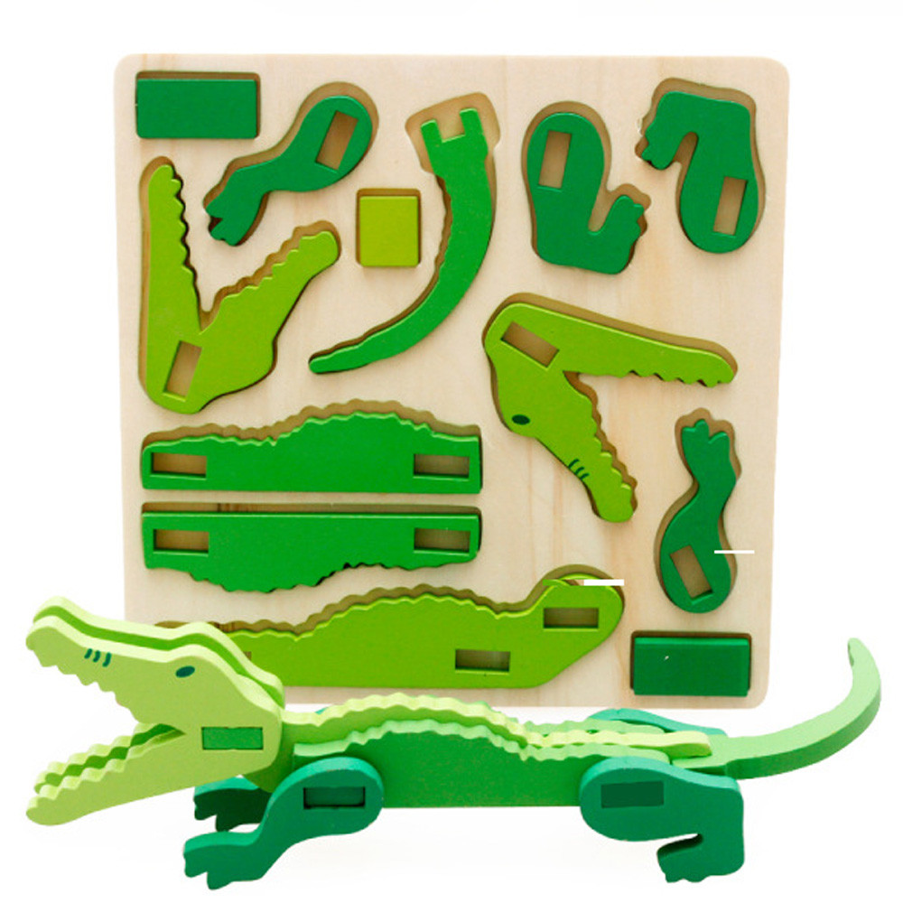 Mini 3D Puzzle Kids Educational Funny Toy Wooden Colorful Jigsaw Gift