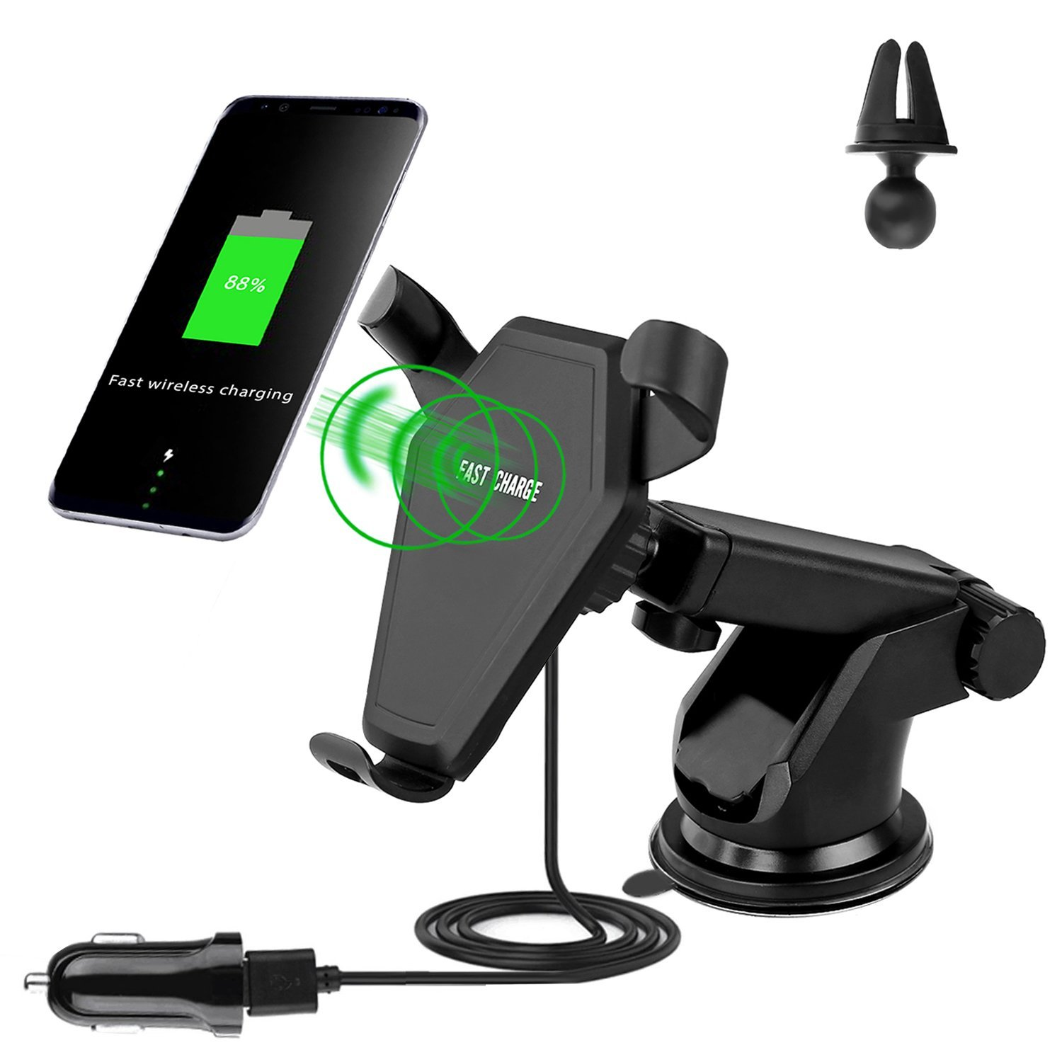 qi universally compatible wireless car charger for iphone and android tanga. Black Bedroom Furniture Sets. Home Design Ideas