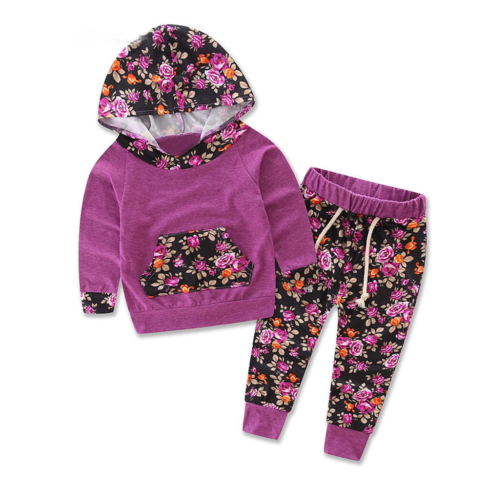 Girls Long Sleeve Floral Print Track Suit Outfit 75a90f93268d