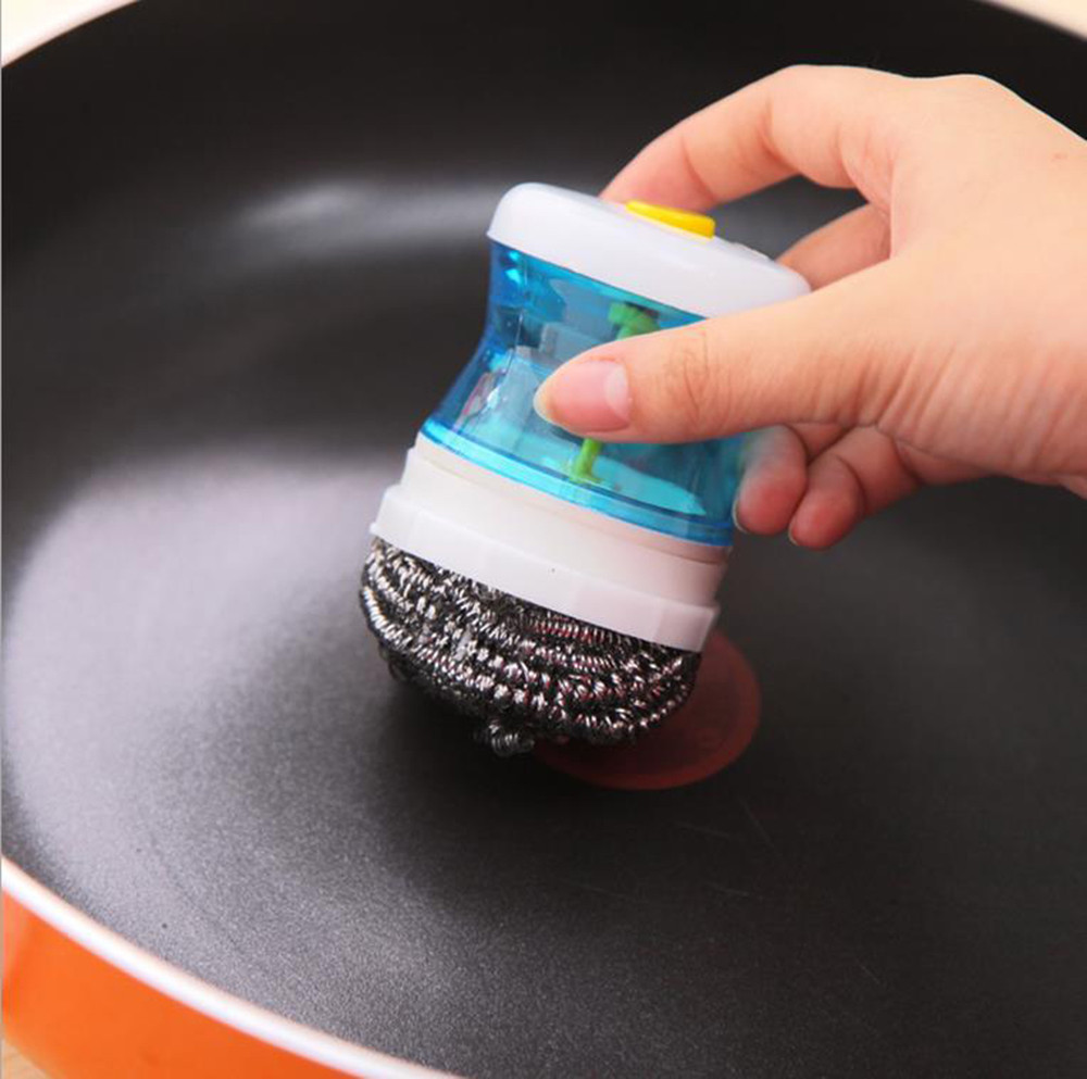 Palm Scrubber Wash Clean Tool Holder Soap Dispenser Brush Dish Washer