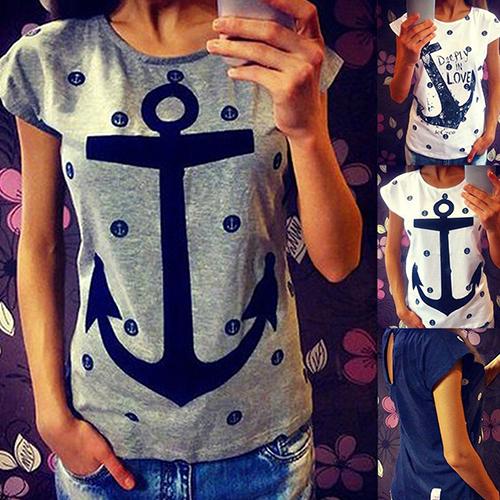 Women s Casual Cotton Anchor Print Short Sleeve T-Shirt