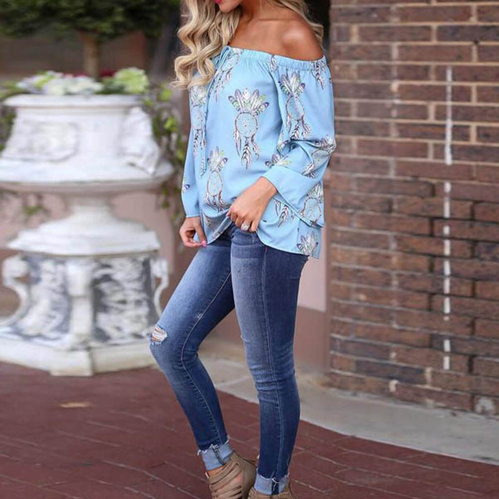 Off the Shoulder Long Sleeve Casual Tops 9219833