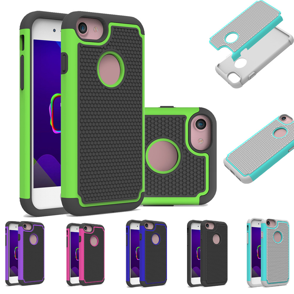 Deluxe Double Shockproof Armor TPU   PC Case Cover For Iphone 8  8 Plu