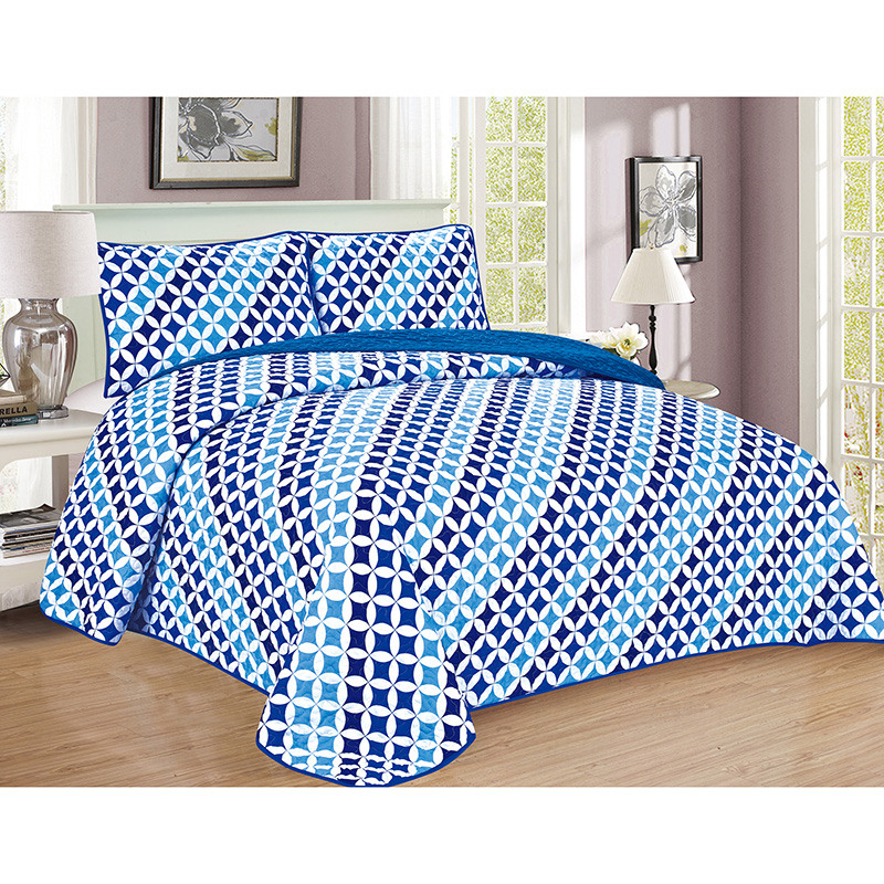 3-Piece Reversible Geometric Quilt Set with Shams