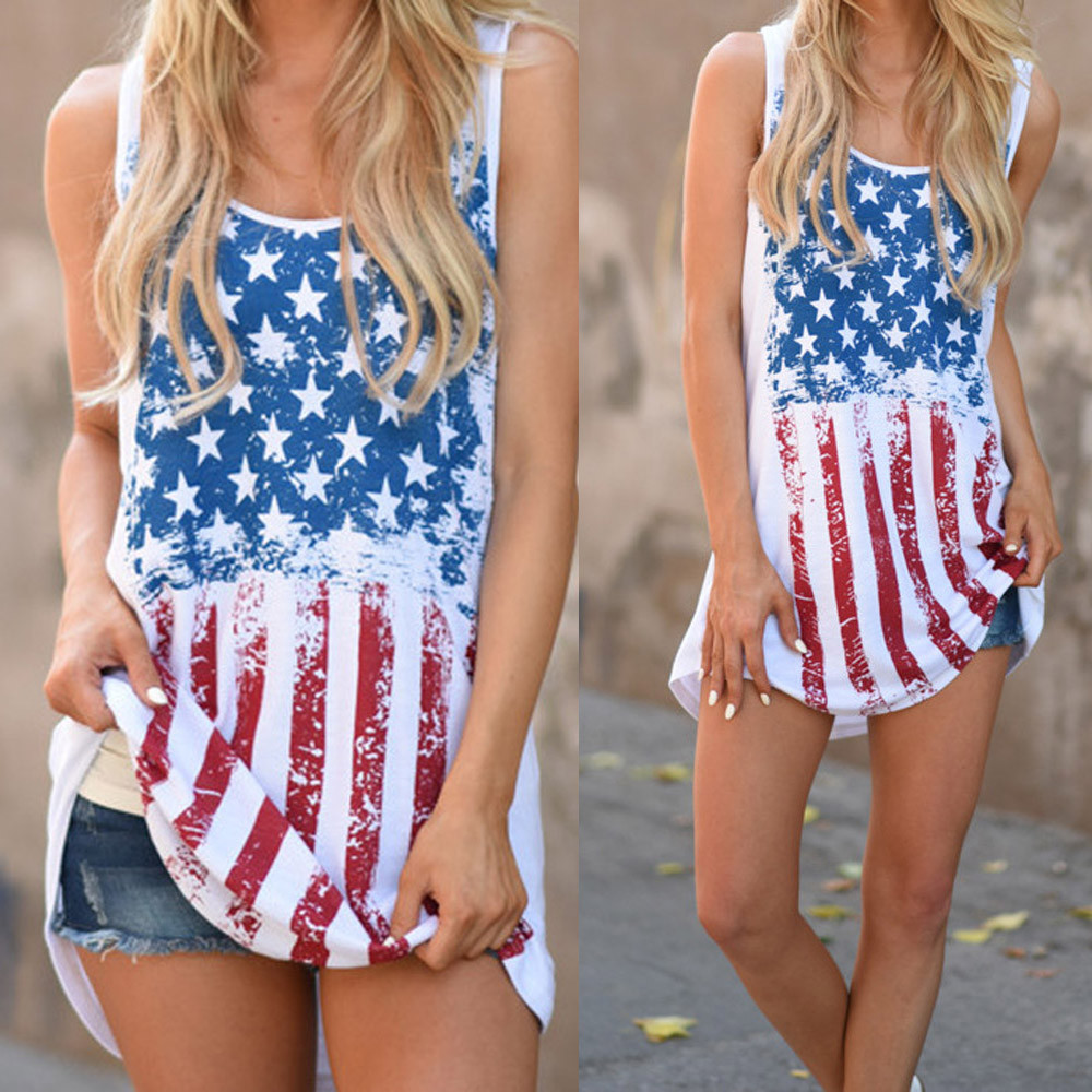 Womens Print American Flag Sleeveless Tank Crop Tops Vest Blouse T-Shi 8524035