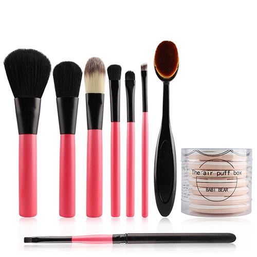 7Pcs Makeup Brushes   1Pc Oval Toothbrush   7Pcs Powder Puffs Beauty T 81cf43650ac5