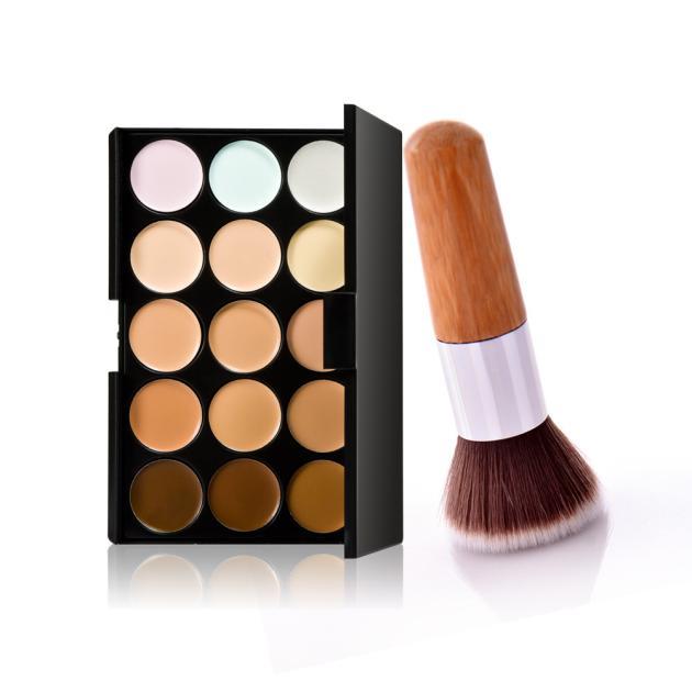 15 Colors Makeup Concealer Contour Palette   Makeup Brush