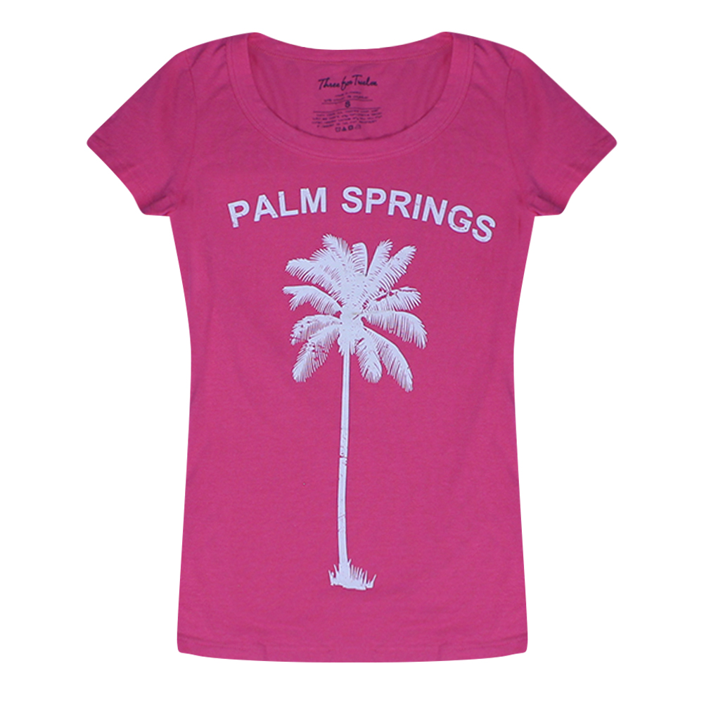 Three for twelve palm springs graphic printed junior 39 s for T shirt city palm springs