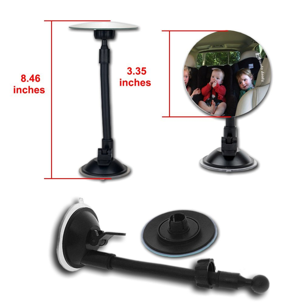 2 Pack Adjustable Blind Spot Mirror W Suction Cup