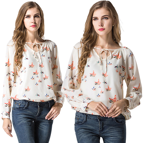 Women s Long Sleeve Chiffon Floral T-Shirt