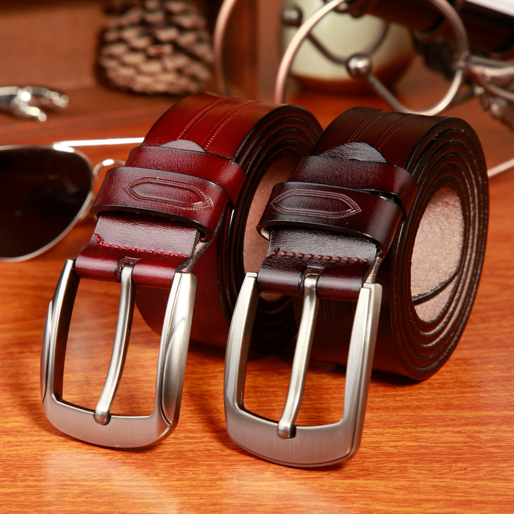 Men s Classic Leather Belt with Metal Buckle