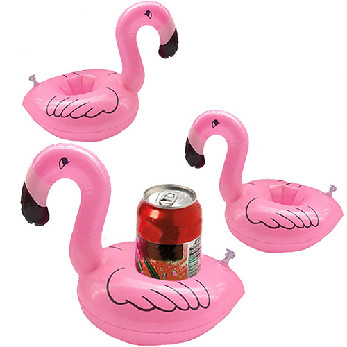 Set of 12 Inflatable Flamingo Cup Holders 8023545