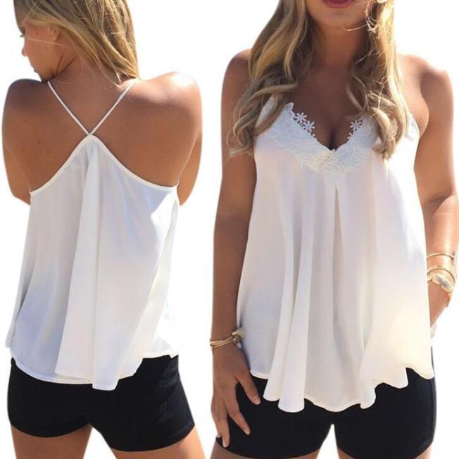 Women s Summer Chiffon Sleeveless Blouse