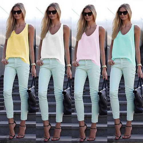 Women s Solid Color Condole Belt Chiffon Tank Top Camisole