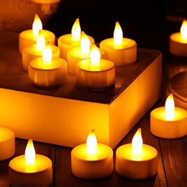 24-Piece LED Tea Light Battery-Powered Flameless Candles
