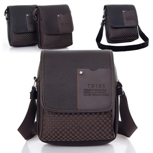 Men s Faux Leather Briefcase Crossbody Messenger Shoulder Bag