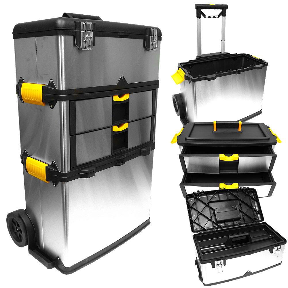 Stalwart Mobile 3-part Tool Box Stainless Steel 2c89903b2586