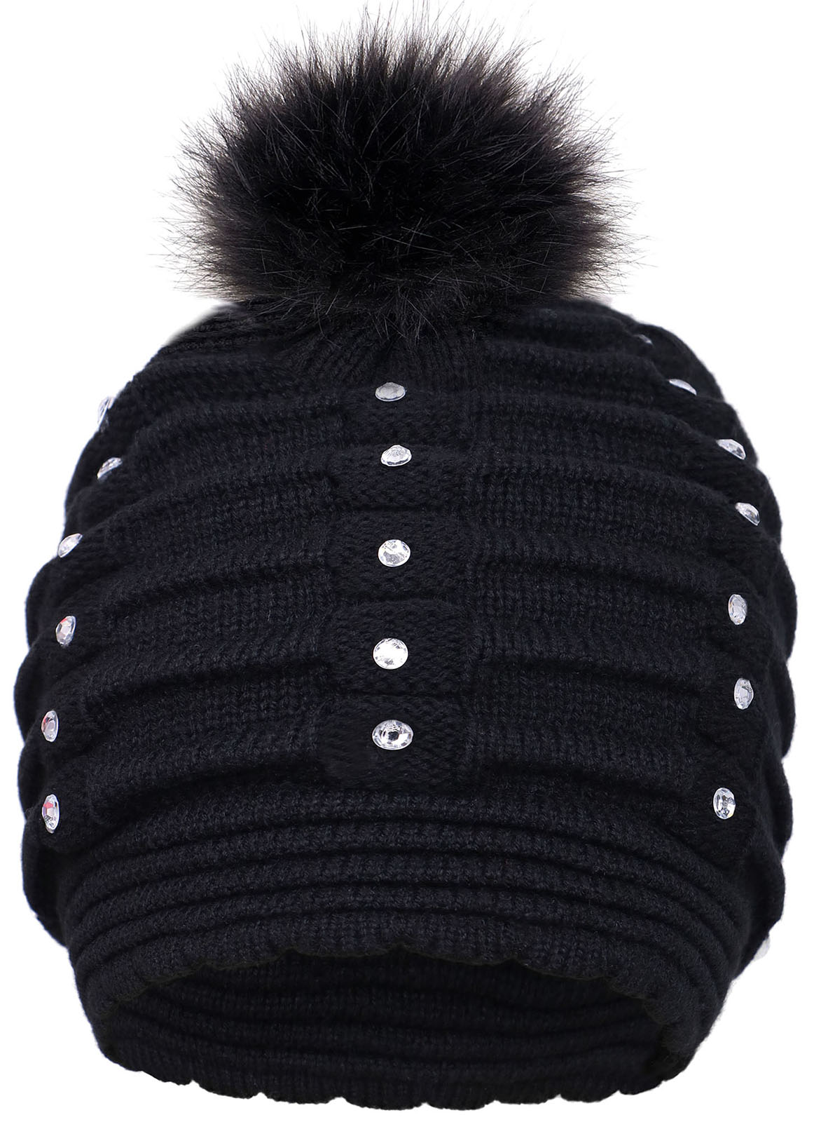 Women Winter Warm Knitted Faux Fur Pom Pom Beanie Hat - Tanga 2d8026e288