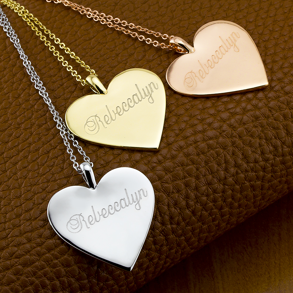 Personalized Heart Disc Necklace with Free Gift!