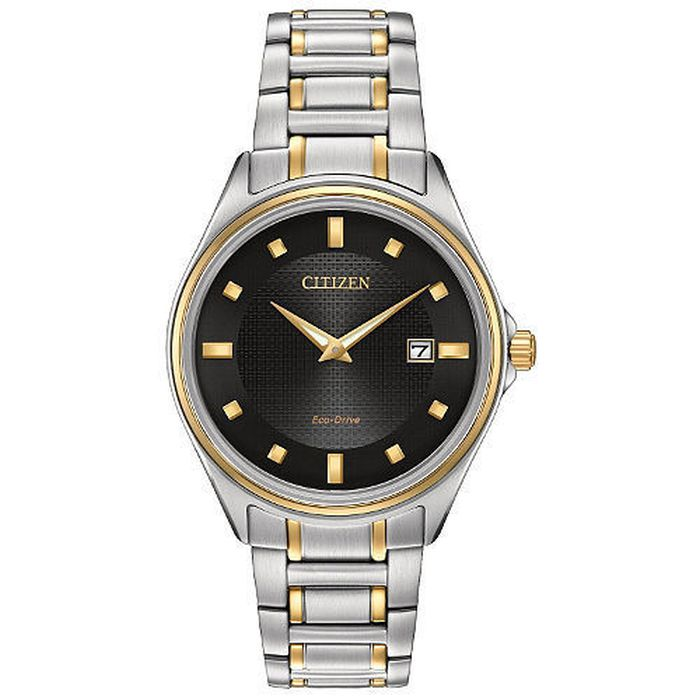 CITIZEN Men s Two Tone Stainless Steel Black Dial Watch AU1059-51E