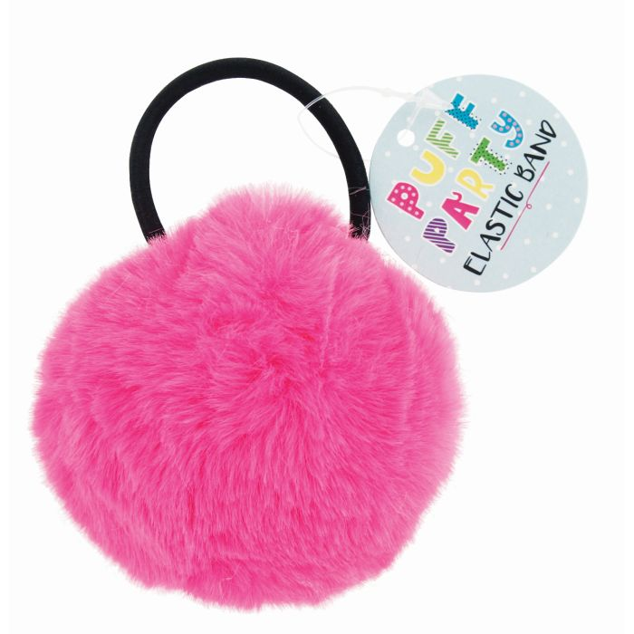 5-Pack  Assorted Faux Fur Pom Pom Elastic Hair Bands