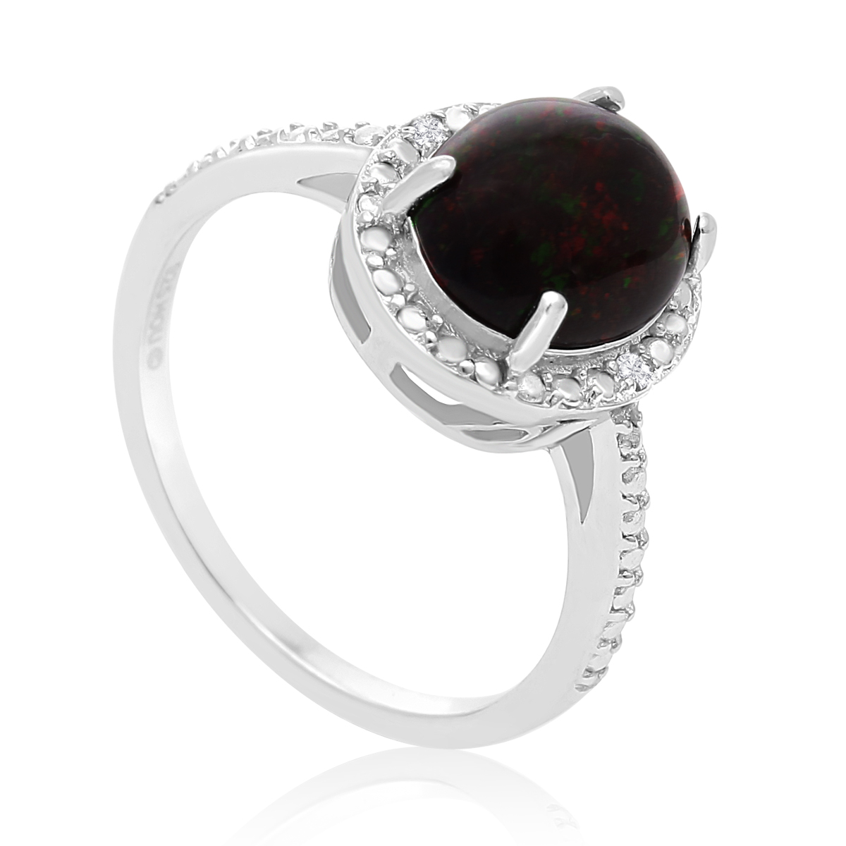 1 1 2 Carat Black Opal and Halo Diamond Ring In Sterling Silver
