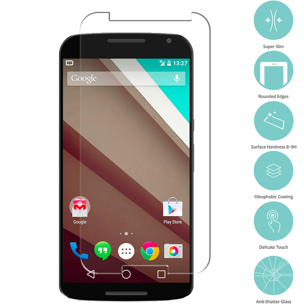 Motorola Google Nexus 6 Tempered Glass Film Screen Protector Clear