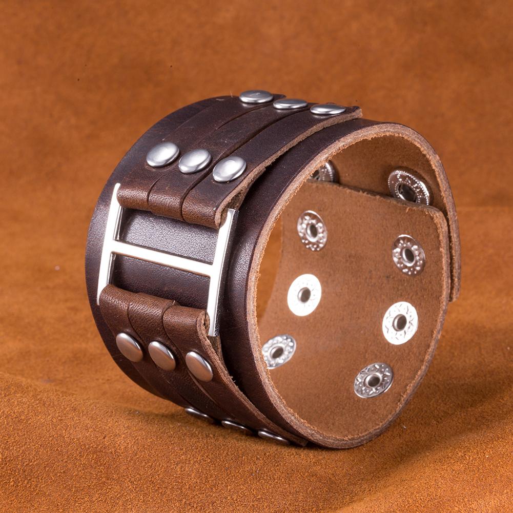 Brown Leather Belt Buckle Sleek Men s Cuff Bracelet