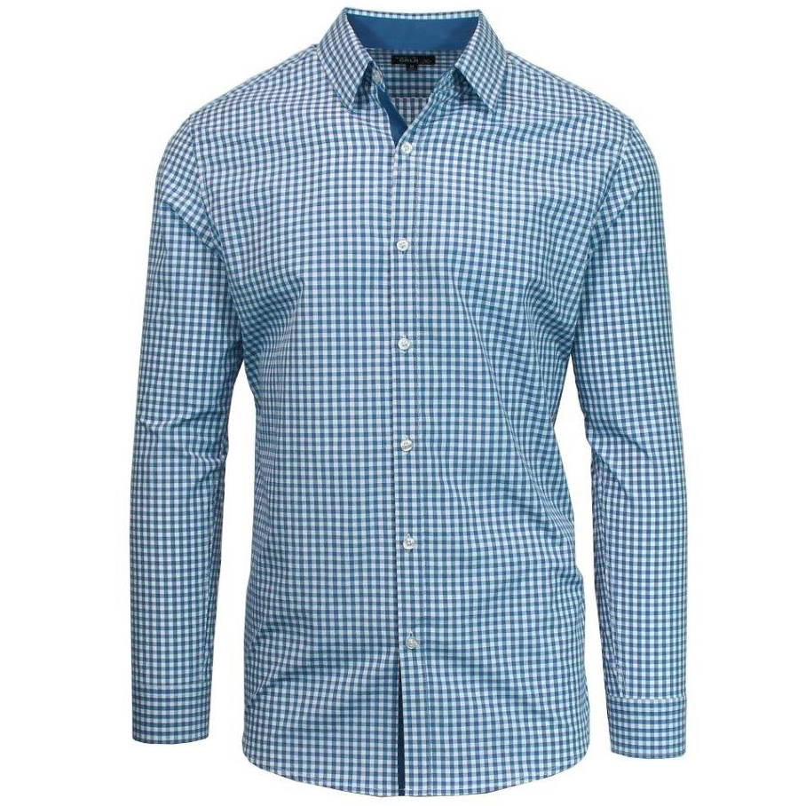 Galaxy by Harvic Button-Down Shirt with Contrast Trim