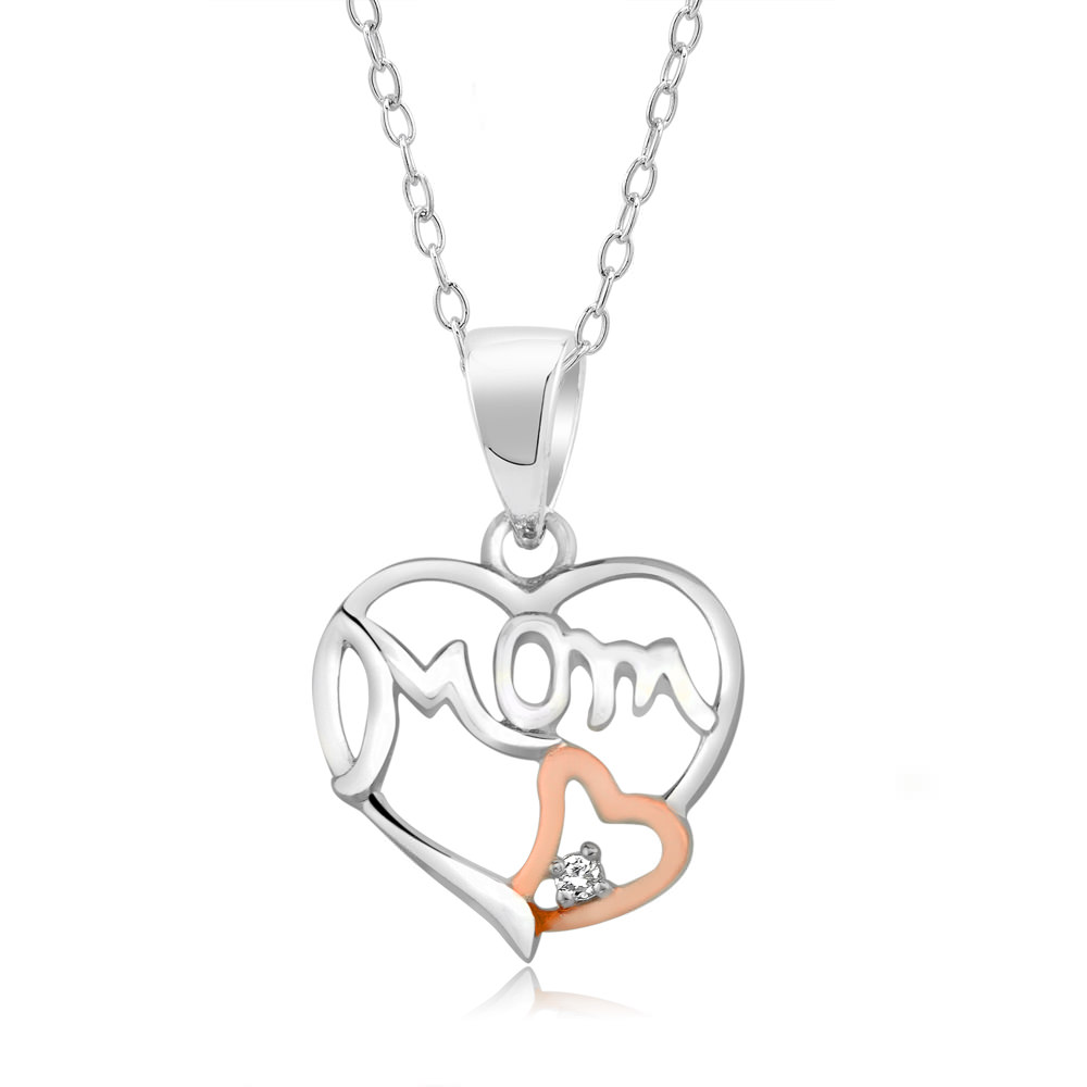 Sterling Silver Two Tone Cubic Zirconia Mom Necklace