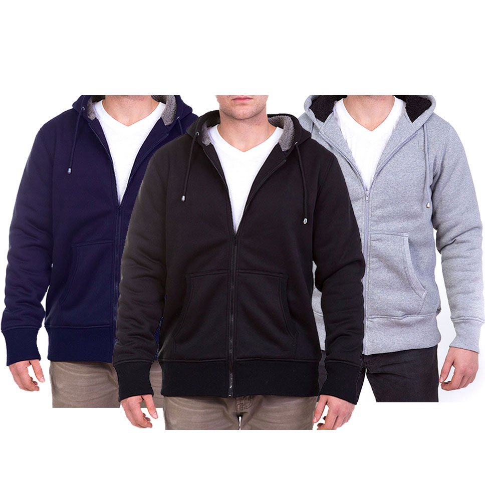 Maze Men s Heavy Sherpa Lined Zip-Up Hoodie With Drawstring Hood (M-2X 5510773