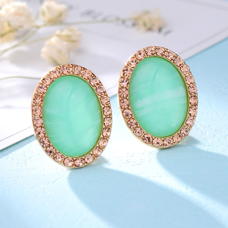 Halo Colored Gemstone Oval Stud Earrings - Choose Color