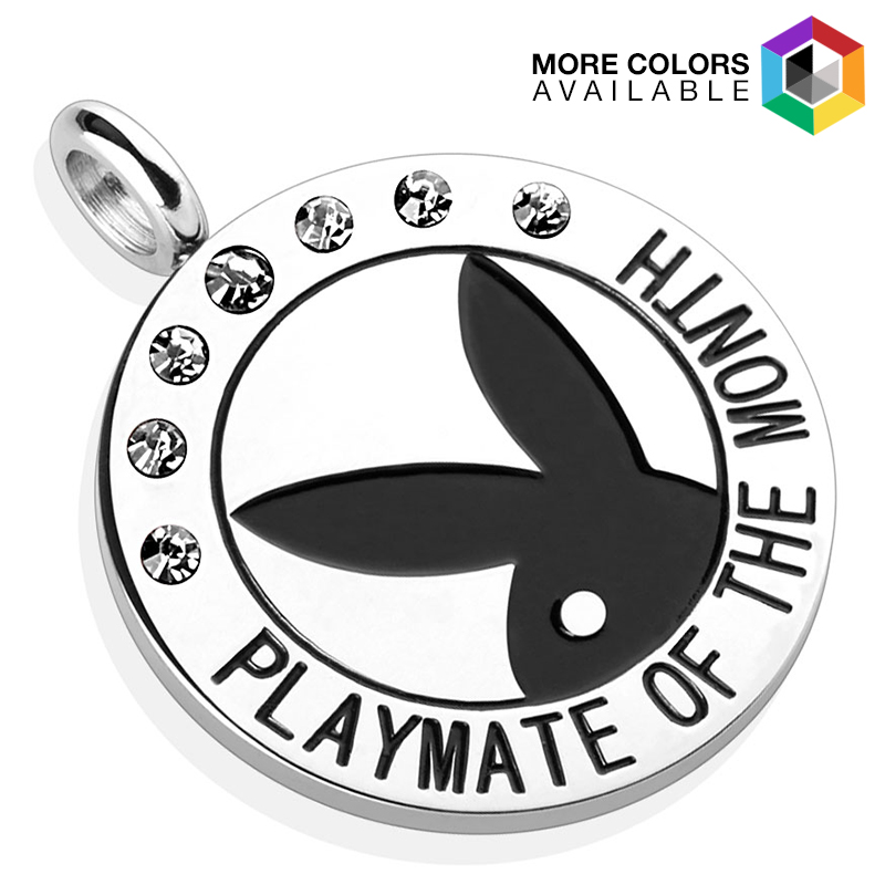 Playboy Logo with Colored Gems  Playmate Of The Month  Pendant