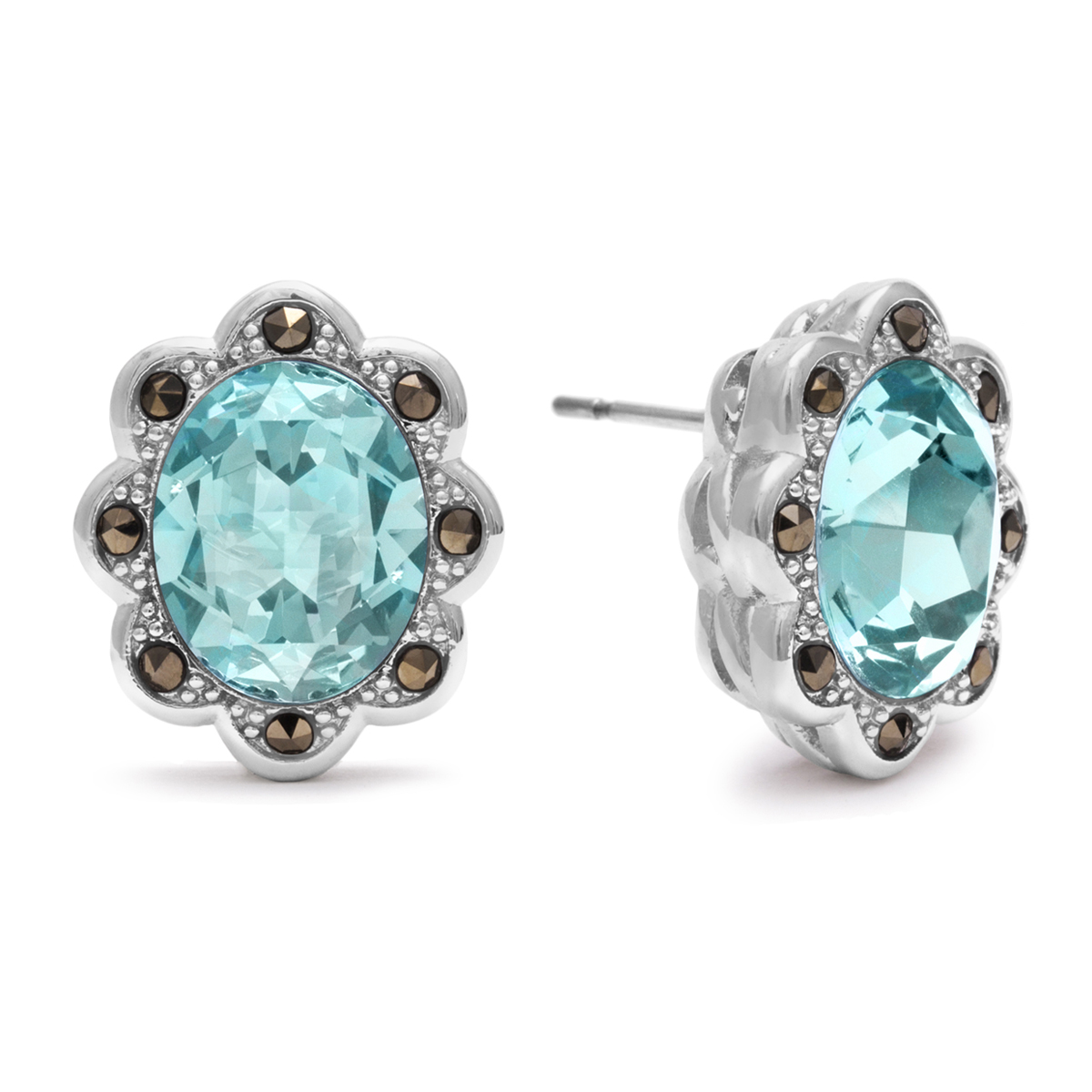 4ct Oval Shape Crystal Aquamarine and Marcasite Earrings