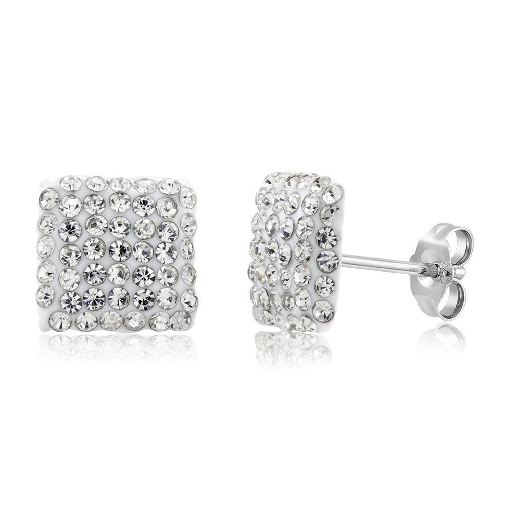 Sterling Silver Sparkling Crystal 10mm Stud Earrings - Square White