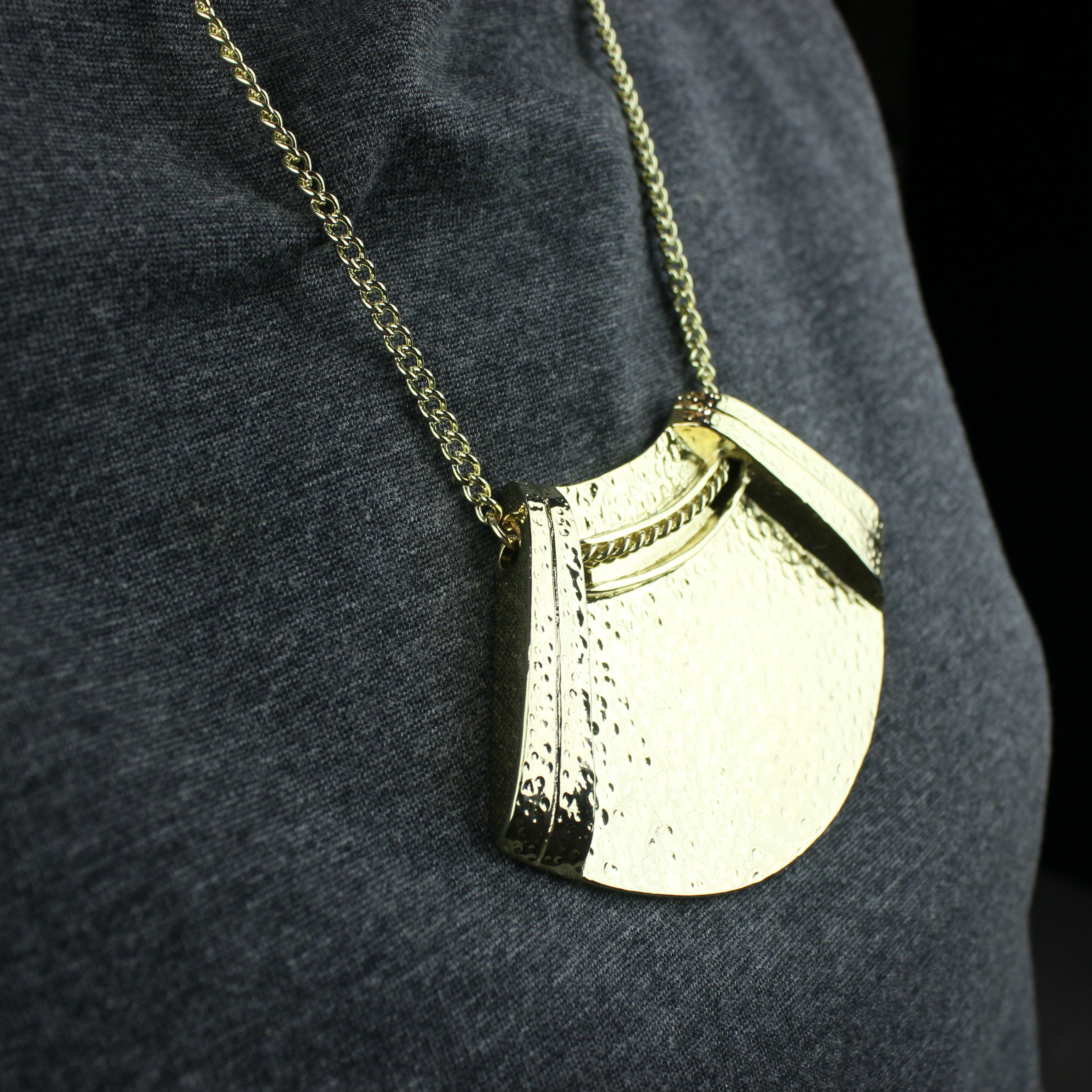 Gold Plated Hammered Metal Statement Pendant