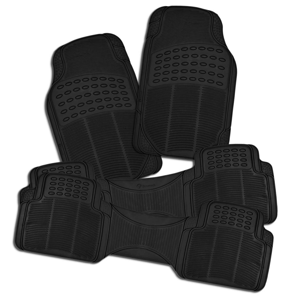 Zone Tech 3 Row 4 Piece Black Universal Rubber All Weather Car Floor M