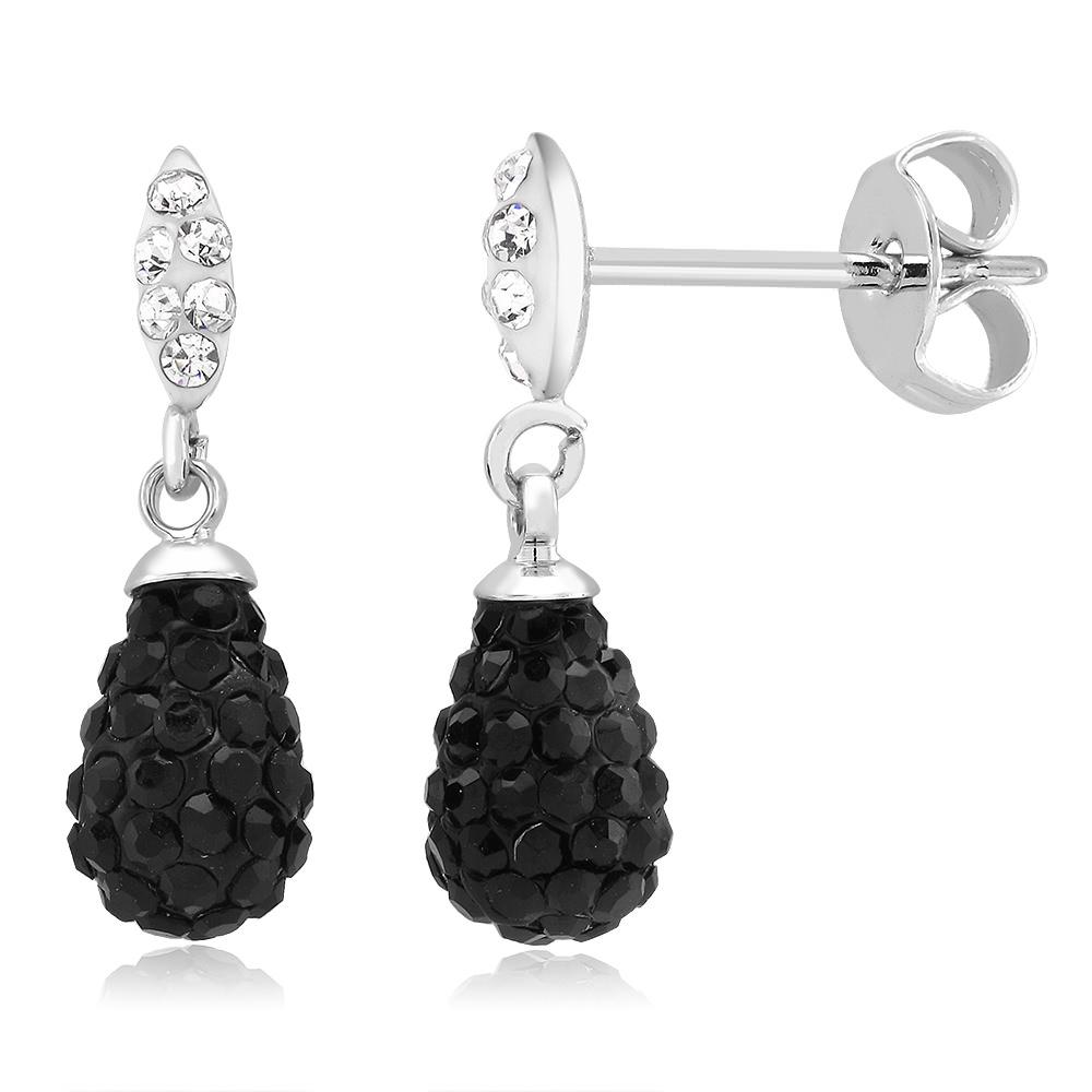 Black  amp  White Crystal Drop Earrings