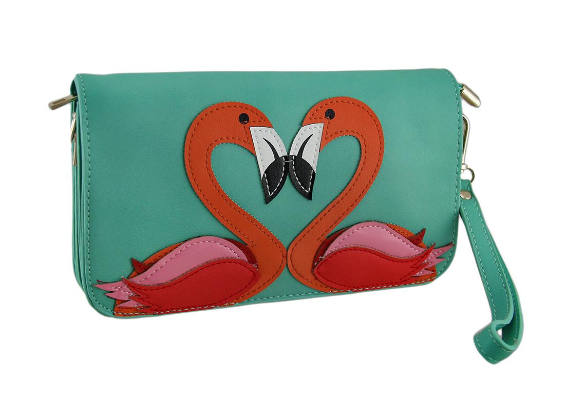 Flamingo Love Birds Clutch Purse w Removable Straps