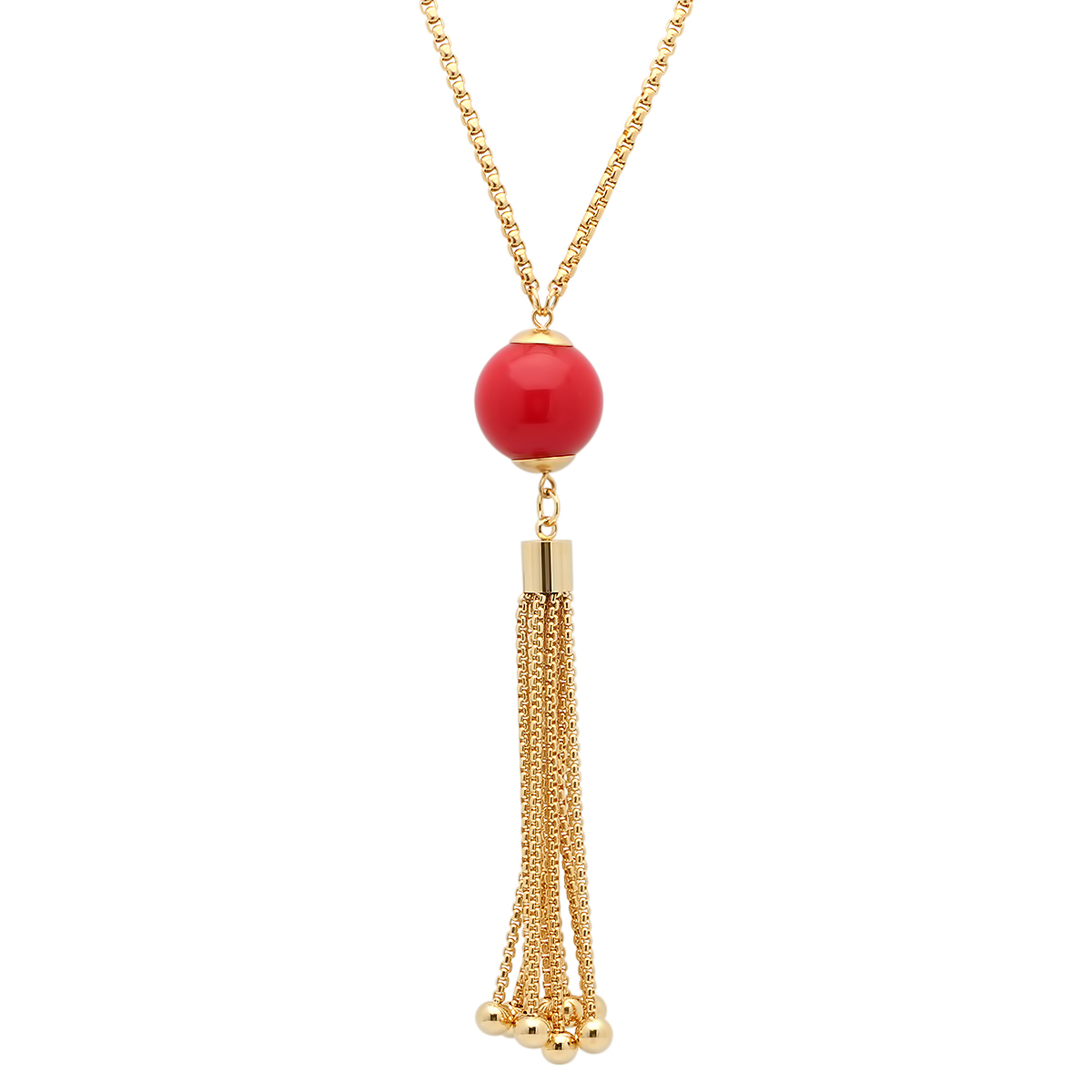 Gold Plated Stainless Steel Red Acrylic Necklace With Tassel