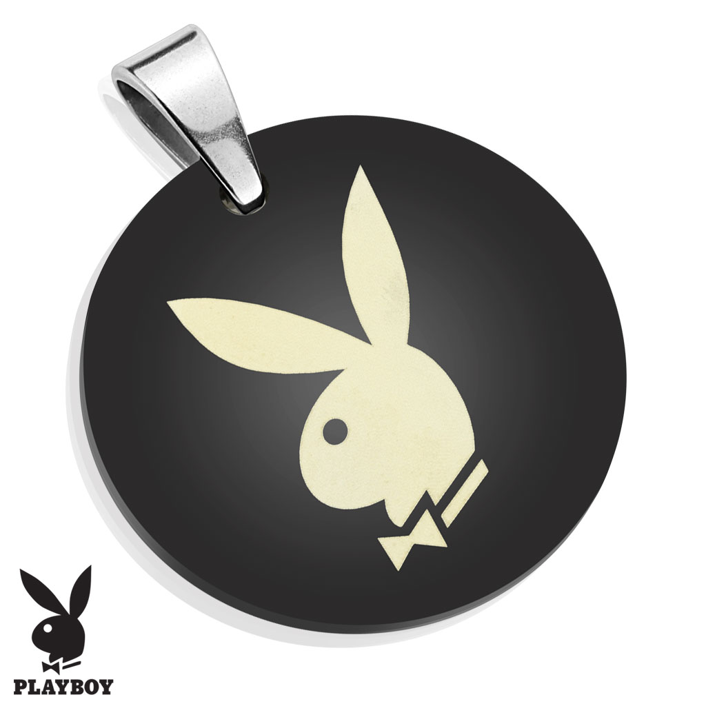 Playboy Logo Laser Etched Medallion Black IP Stainless Steel Pendant