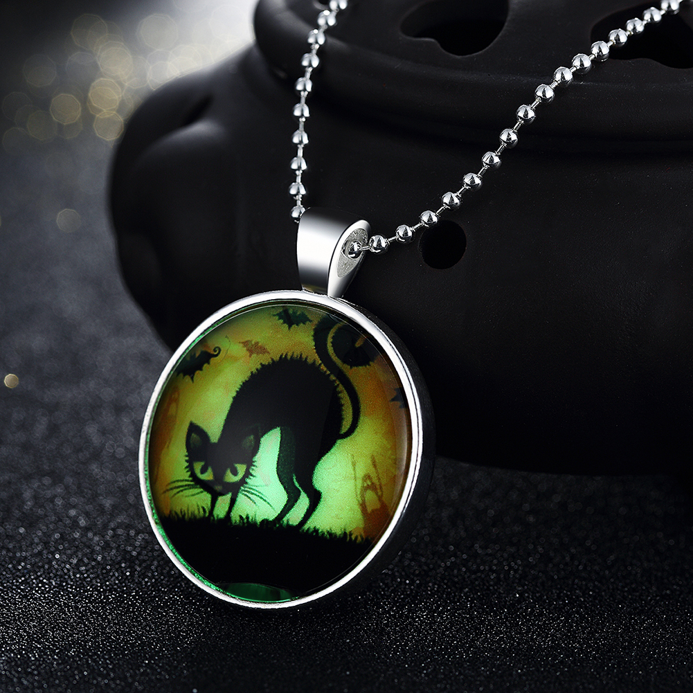 Glow in the Dark Moving Cat Necklace