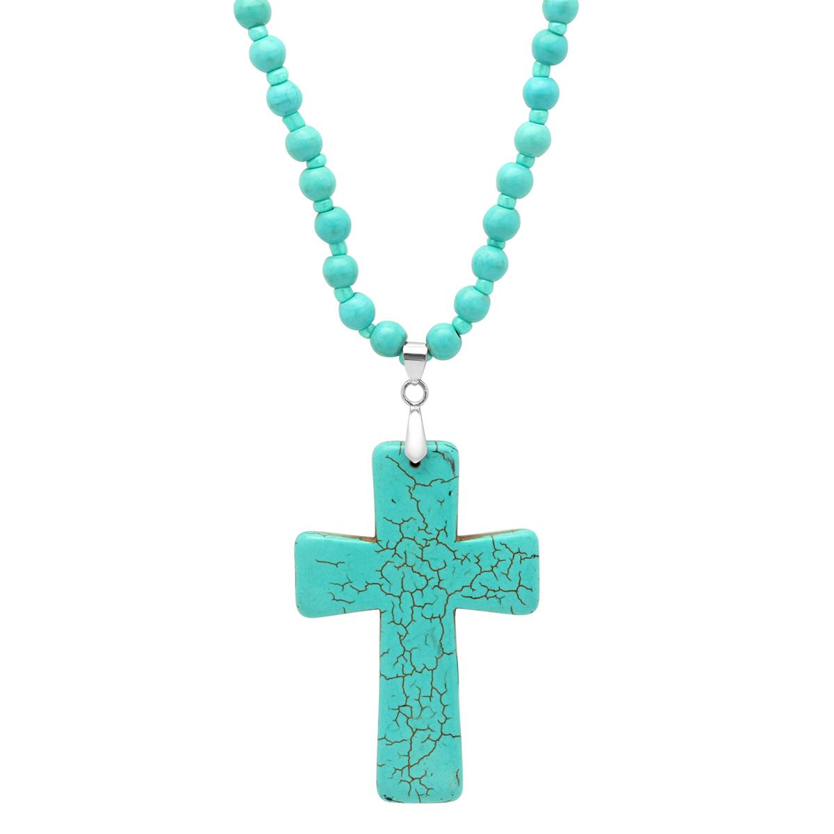 Genuine Turquoise Cross Necklace 5516202