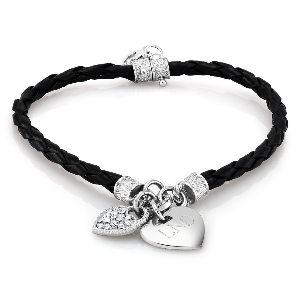 Personalized Black Leather Heart Charm Bracelet with Free Gift!