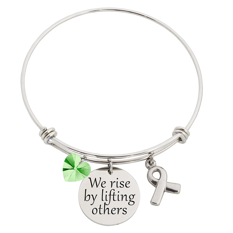 We Rise By Lifting Others Steel Bangle Bracelet With Swarovski Charms