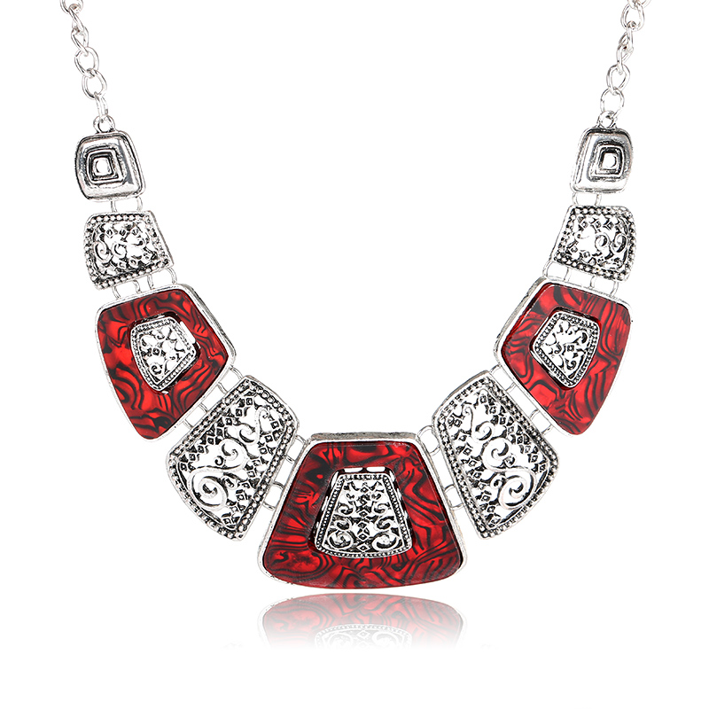 Ruby Marble Bohemian Art Statement Necklace